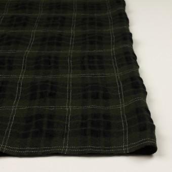 ウール×チェック(カーキグリーン&ブラック)×ガーゼ サムネイル3