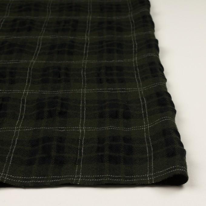 ウール×チェック(カーキグリーン&ブラック)×ガーゼ イメージ3
