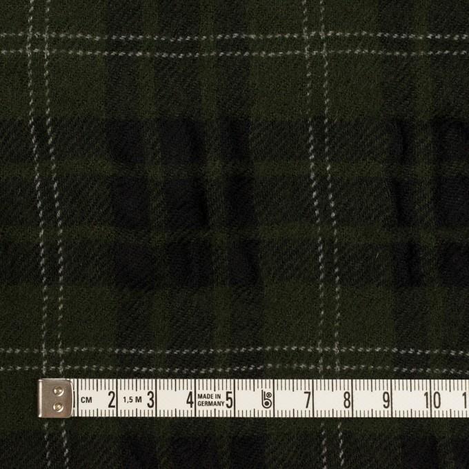 ウール×チェック(カーキグリーン&ブラック)×ガーゼ イメージ4