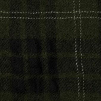 ウール×チェック(カーキグリーン&ブラック)×ガーゼ サムネイル1