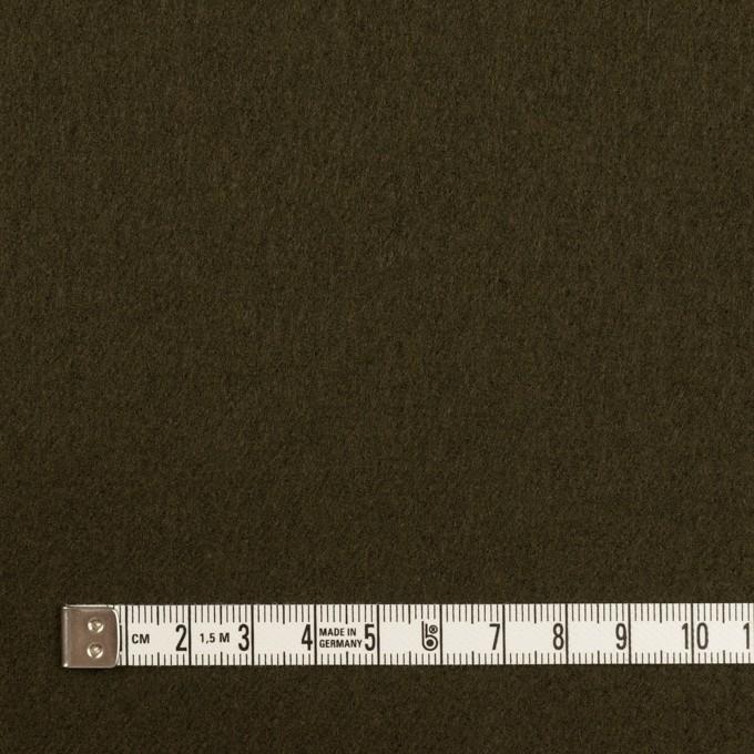 ウール×無地(ダークオリーブ)×フラノ(フランネル) イメージ4