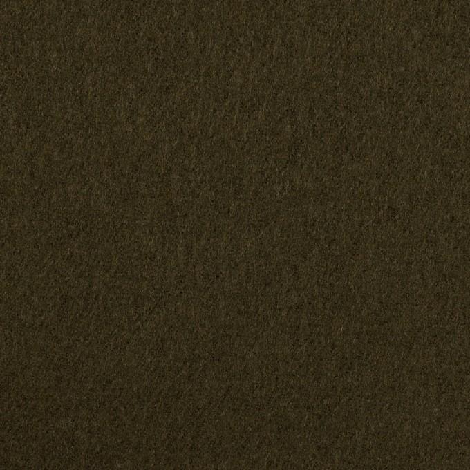 ウール×無地(ダークオリーブ)×フラノ(フランネル) イメージ1
