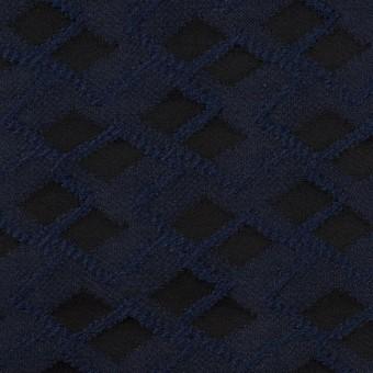 ポリエステル×ダイヤ(プルシアンブルー&チャコール)×サテンジャガード サムネイル1