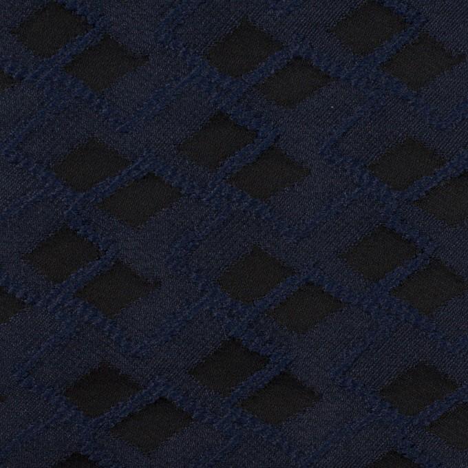 ポリエステル×ダイヤ(プルシアンブルー&チャコール)×サテンジャガード イメージ1