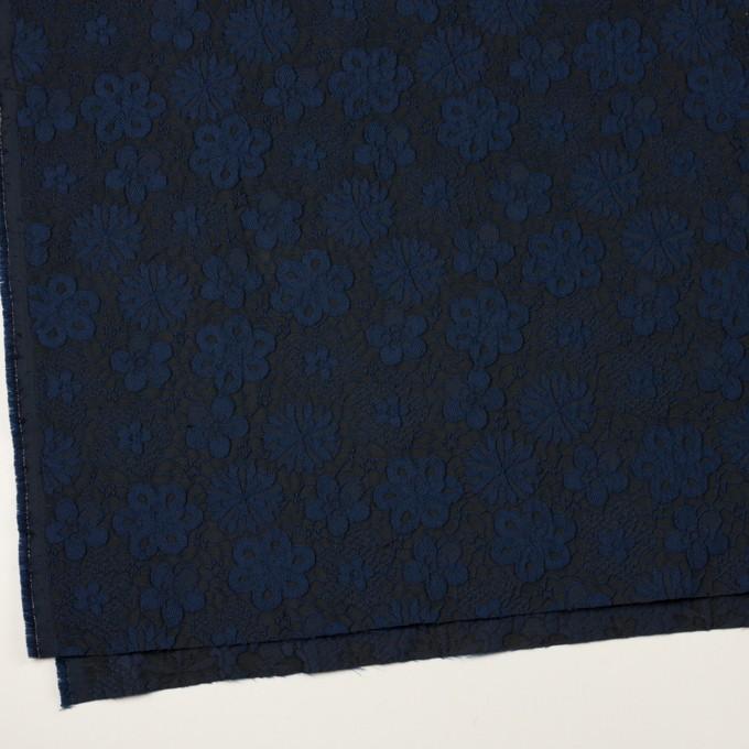 ポリエステル×フラワー(プルシアンブルー&チャコール)×ジャガード イメージ2