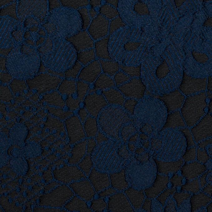 ポリエステル×フラワー(プルシアンブルー&チャコール)×ジャガード イメージ1