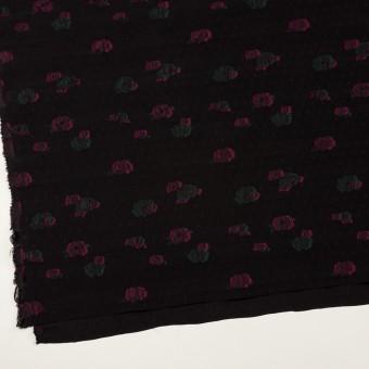 レーヨン×フラワー(ブラック、チェリー&モスグリーン)×デシン・カットジャガード サムネイル2