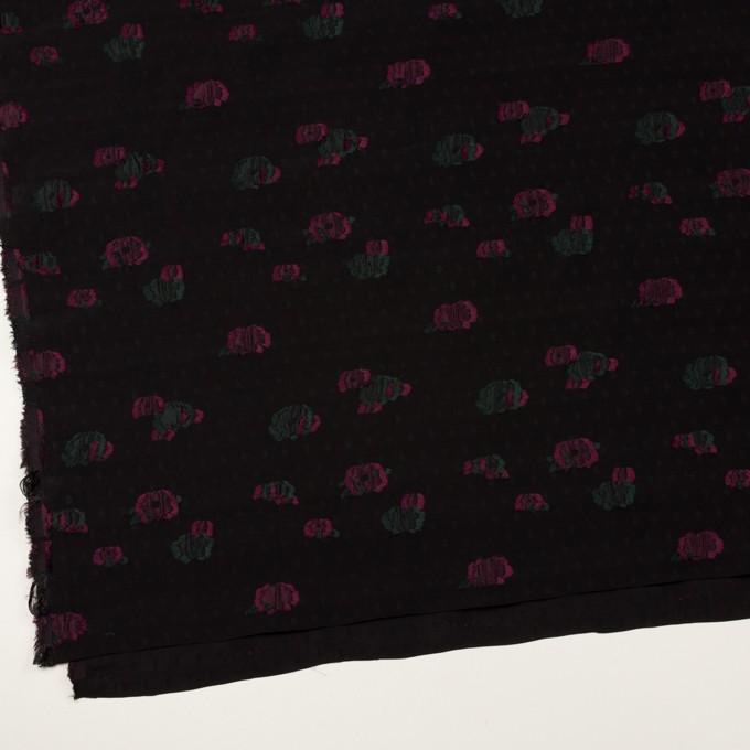 レーヨン×フラワー(ブラック、チェリー&モスグリーン)×デシン・カットジャガード イメージ2