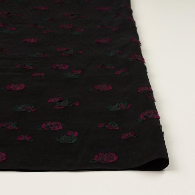 レーヨン×フラワー(ブラック、チェリー&モスグリーン)×デシン・カットジャガード イメージ3