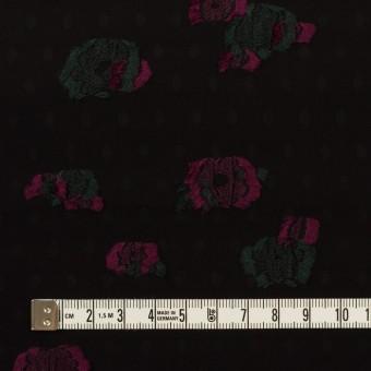 レーヨン×フラワー(ブラック、チェリー&モスグリーン)×デシン・カットジャガード サムネイル4