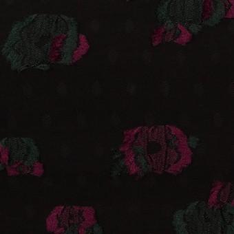 レーヨン×フラワー(ブラック、チェリー&モスグリーン)×デシン・カットジャガード サムネイル1