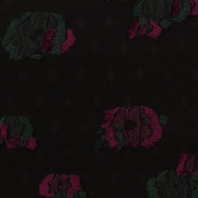 レーヨン×フラワー(ブラック、チェリー&モスグリーン)×デシン・カットジャガード イメージ1
