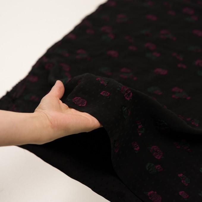 レーヨン×フラワー(ブラック、チェリー&モスグリーン)×デシン・カットジャガード イメージ5