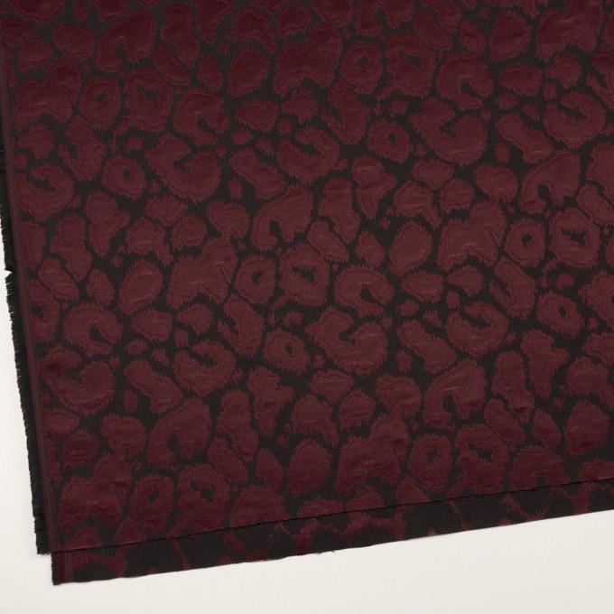 コットン&ポリエステル混×レオパード(バーガンディー&チャコール)×フクレジャガード・ストレッチ イメージ2