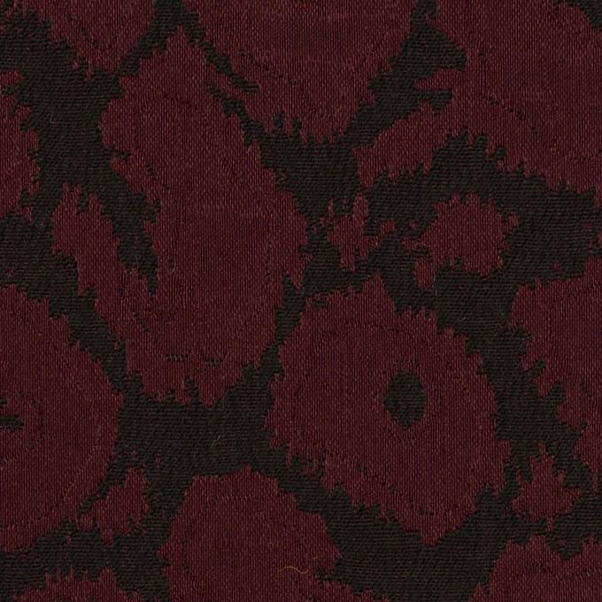 コットン&ポリエステル混×レオパード(バーガンディー&チャコール)×フクレジャガード・ストレッチ イメージ1