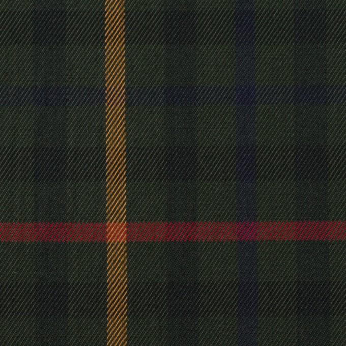 コットン×チェック(ダークグリーン、オーカー&レッド)×サージ イメージ1