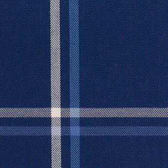 コットン×チェック(ブルー&ネイビー)×サージ