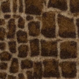 ウール×幾何学模様(ブラウン)×かわり織_全2色
