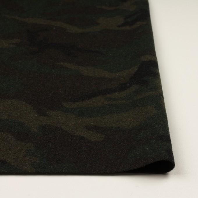 ウール&ポリエステル混×迷彩(カーキグリーン)×かわり織 イメージ3