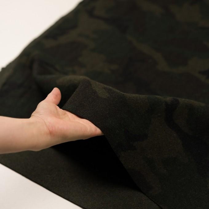 ウール&ポリエステル混×迷彩(カーキグリーン)×かわり織 イメージ5