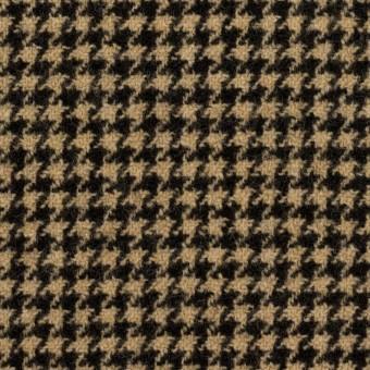 【110cmカット】ウール&アクリル混×チェック(ベージュ&ブラック)×千鳥格子