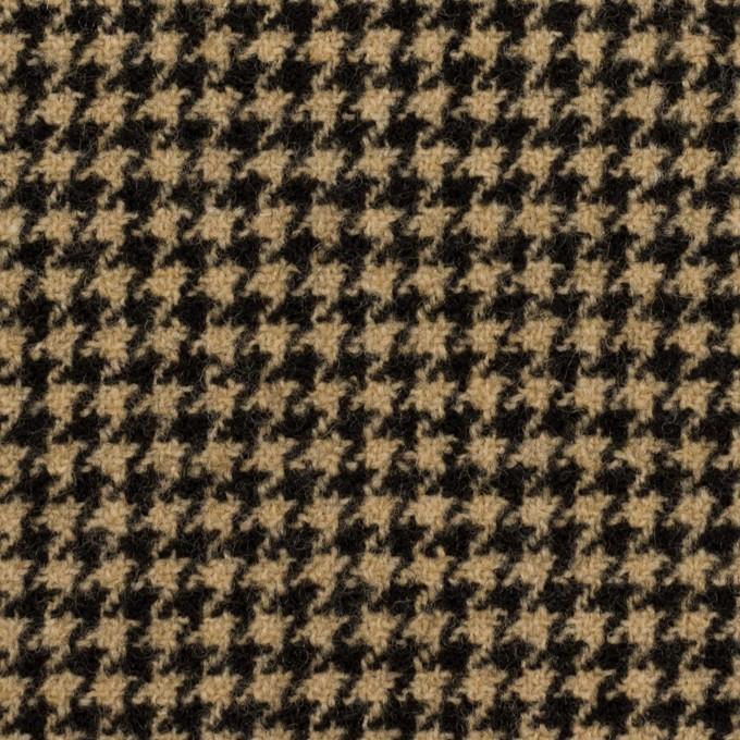 ウール&アクリル混×チェック(ベージュ&ブラック)×千鳥格子 イメージ1