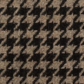 ウール&ポリエステル×チェック(グレイッシュベージュ&ブラック)×千鳥格子