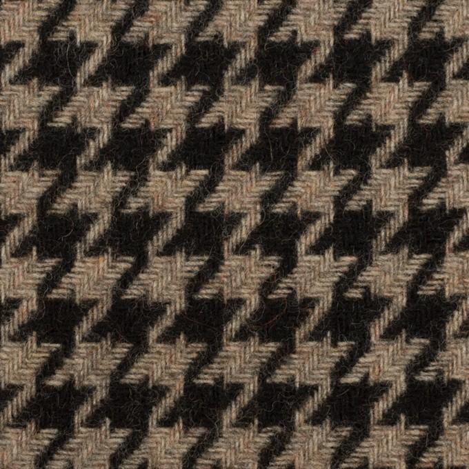 ウール&ポリエステル×チェック(グレイッシュベージュ&ブラック)×千鳥格子 イメージ1