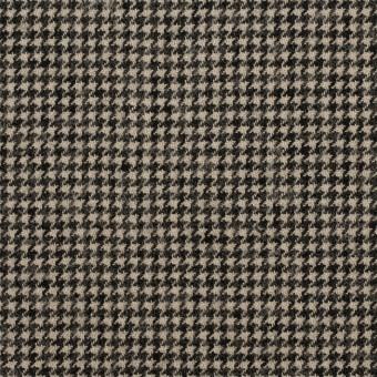 コットン&ウール×チェック(グレイッシュベージュ&ブラック)×千鳥格子