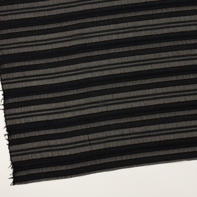 コットン&ナイロン×ボーダー(ブラック)×オーガンジー・ジャガード イメージ2