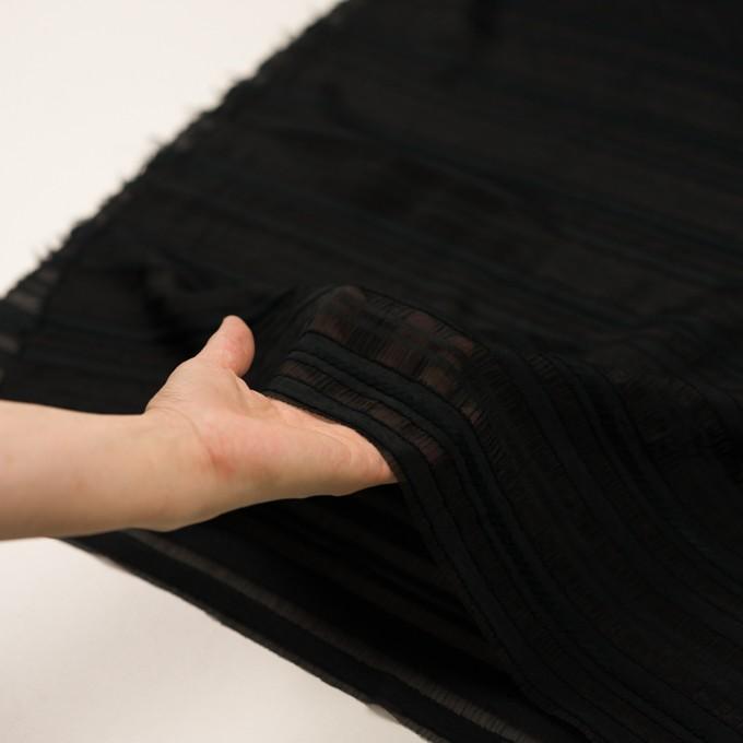 コットン&ナイロン×ボーダー(ブラック)×オーガンジー・ジャガード イメージ5