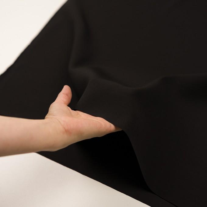 シルク&ウール×無地(ブラック)×バックサテン・かわり織_イタリア製 イメージ5