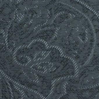 【80cmカット】ポリエステル×ペイズリー(ブルーグレー)×ジャガード