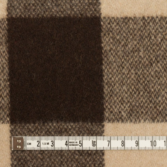 ウール&ナイロン×チェック(ベージュ&ブラウン)×フラノ(フランネル) イメージ4