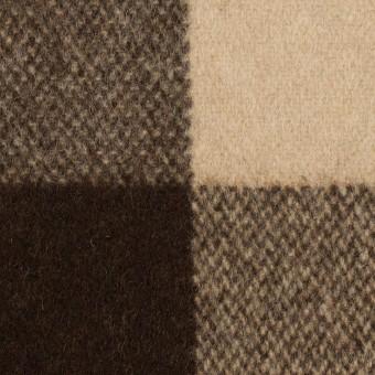 ウール&ナイロン×チェック(ベージュ&ブラウン)×フラノ(フランネル) サムネイル1