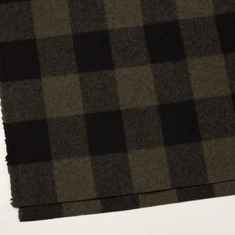 ウール&ナイロン×チェック(カーキ&ブラック)×フラノ(フランネル) サムネイル2