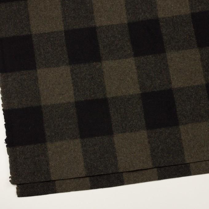 ウール&ナイロン×チェック(カーキ&ブラック)×フラノ(フランネル) イメージ2