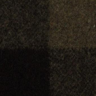 ウール&ナイロン×チェック(カーキ&ブラック)×フラノ(フランネル)