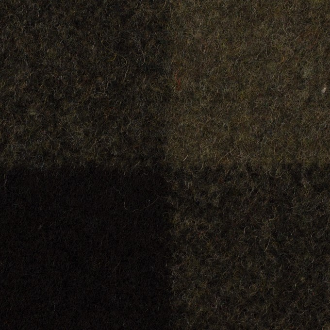 ウール&ナイロン×チェック(カーキ&ブラック)×フラノ(フランネル) イメージ1