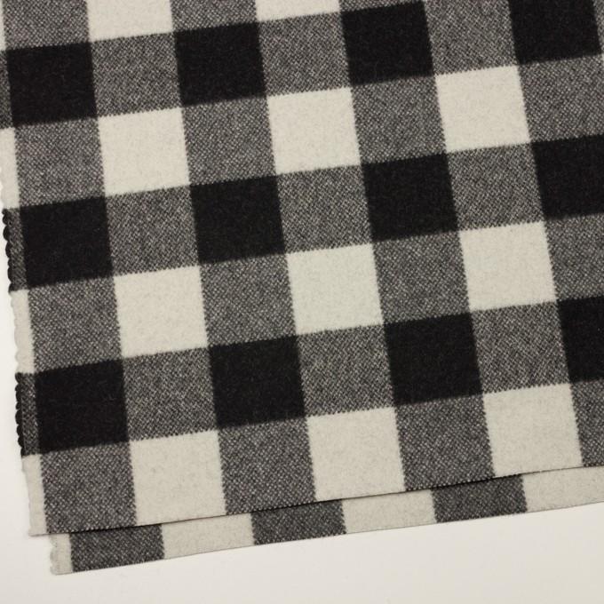 ウール&ナイロン×チェック(アイボリー&ブラック)×フラノ(フランネル) イメージ2