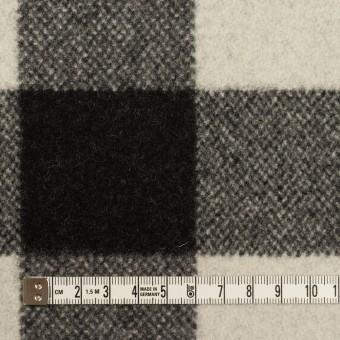 ウール&ナイロン×チェック(アイボリー&ブラック)×フラノ(フランネル) サムネイル4
