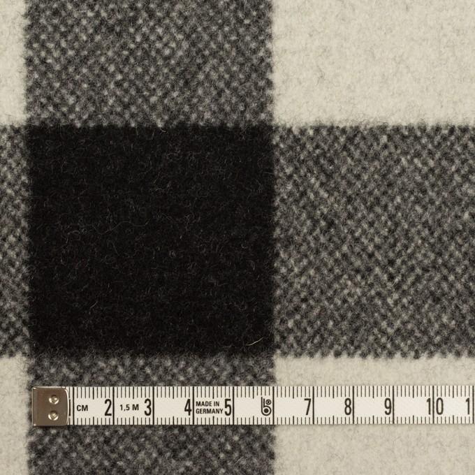 ウール&ナイロン×チェック(アイボリー&ブラック)×フラノ(フランネル) イメージ4