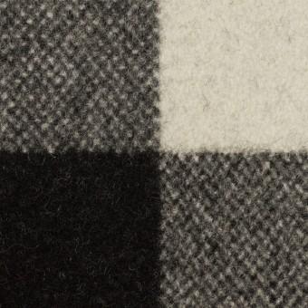ウール&ナイロン×チェック(アイボリー&ブラック)×フラノ(フランネル)