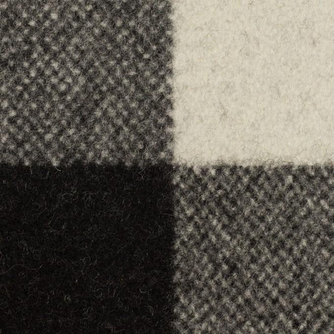 ウール&ナイロン×チェック(アイボリー&ブラック)×フラノ(フランネル) イメージ1