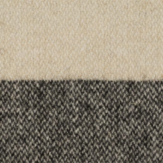 ウール&ポリエステル混×ボーダー(グレイッシュベージュ&チャコール)×ツイード イメージ1