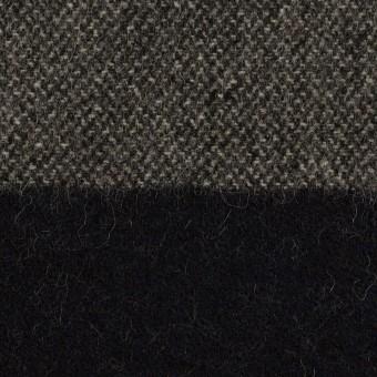 ウール&ポリエステル混×ボーダー(チャコール&ダークネイビー)×ツイード サムネイル1