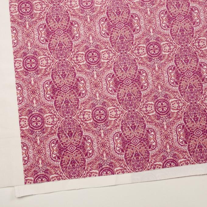 コットン&ポリウレタン×幾何学模様(チェリーピンク)×中細コーデュロイ・ストレッチ_全2色 イメージ2