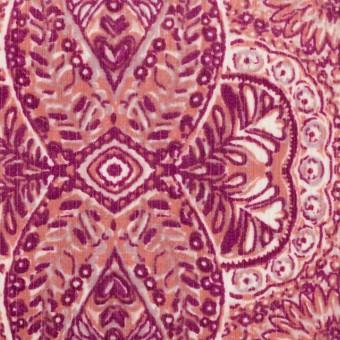 コットン&ポリウレタン×幾何学模様(チェリーピンク)×中細コーデュロイ・ストレッチ_全2色