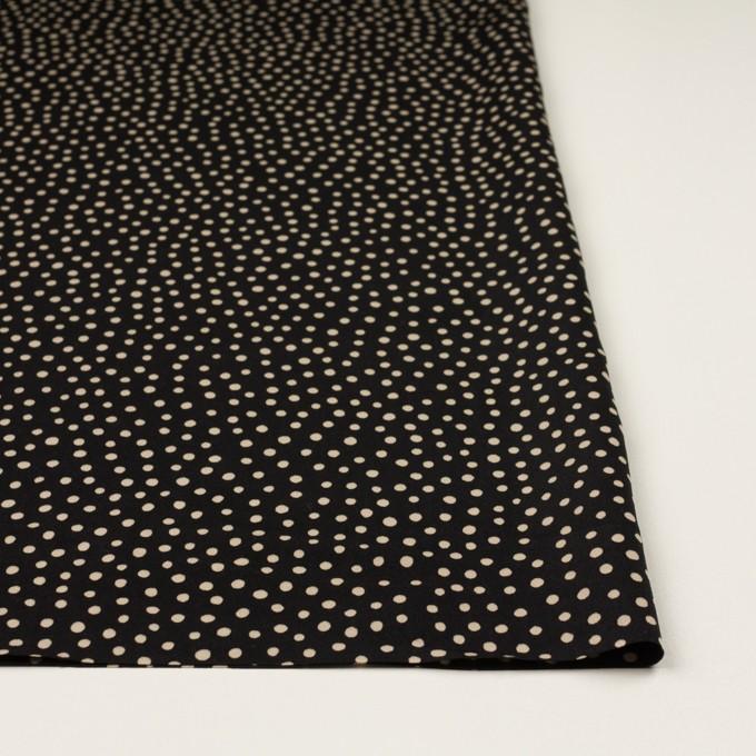 ポリエステル×水玉(ブラック&ベージュ)×サテン イメージ3