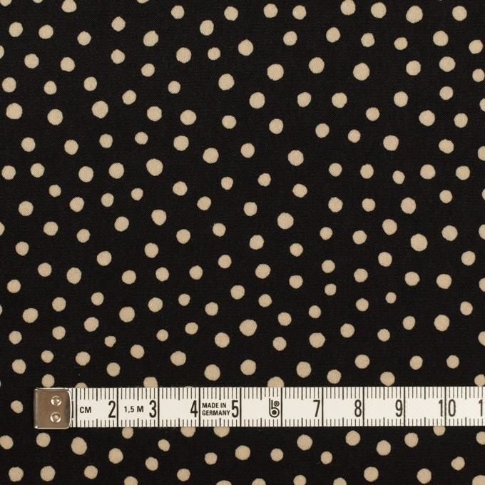 ポリエステル×水玉(ブラック&ベージュ)×サテン イメージ4